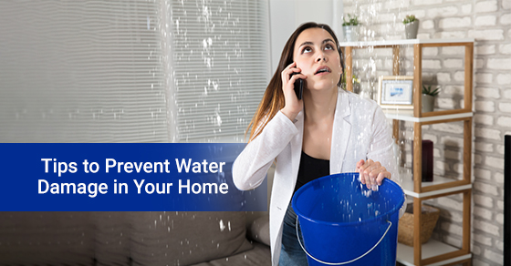 Worried Woman Calling Plumber to prevent water damage.